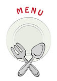 Cafe menu. With plate, fork and spoon, vector illustration Royalty Free Stock Image