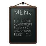 Cafe menu board with chalk alphabet Royalty Free Stock Photo