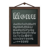 Cafe menu board with chalk alphabet Royalty Free Stock Images