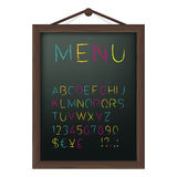 Cafe menu board with colored chalk alphabet Royalty Free Stock Photography