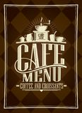 Cafe menu card design, coffee and croissants. Vintage style Royalty Free Stock Photography