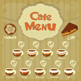 Cafe Menu Card with types of coffee Stock Photos