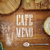 Cafe menu card wooden square kitchen background Stock Images
