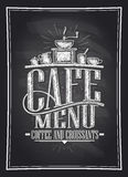Cafe menu coffee and croissants chalkboard vector illustration with coffee cutlery Stock Photos