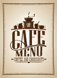 Cafe menu coffee and croissants vintage style vector illustration. With coffee cutlery Stock Photography