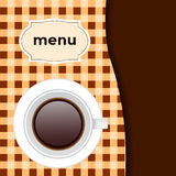 Cafe menu, with a cup in brown colors Stock Photos