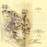 Cafe menu design with hand drawn street Royalty Free Stock Images