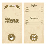 Cafe menu design with treasure map Stock Photos