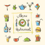 Cafe menu food and drinks hand drawn icons Royalty Free Stock Photography