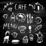 Cafe menu and food icons on the blackboard. Sketchy design, vector  illustration Stock Photo