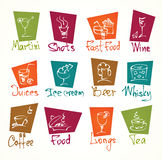 Cafe menu hand draw icons in color Stock Images