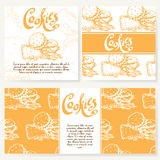 Cafe menu with hand drawn design. Dessert restaurant menu template. Set of cards for corporate identity. Vector illustration Royalty Free Stock Photos