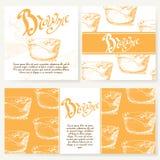 Cafe menu with hand drawn design. Dessert restaurant menu template Stock Image