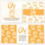 Cafe menu with hand drawn design. Dessert restaurant menu template. Set of cards for corporate identity. Vector illustration Stock Image