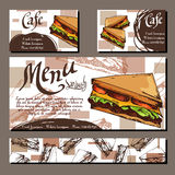 Cafe menu with hand drawn design. Fast food restaurant menu template with sandwich. Set of cards for corporate identity. Vector il Stock Images