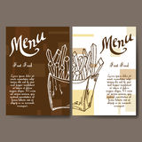 Cafe menu with hand drawn design. Fast food restaurant menu template. Set of cards for corporate identity. Vector illustration Royalty Free Stock Image