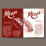 Cafe menu with hand drawn design. Fast food restaurant menu template. Set of cards for corporate identity. Vector illustration Royalty Free Stock Photo