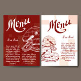 Cafe menu with hand drawn design. Fast food restaurant menu template. Set of cards for corporate identity. Vector illustration Stock Photography