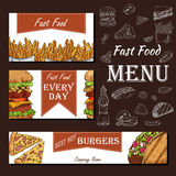 Cafe menu with hand drawn design. Fast food restaurant menu template. Set of cards for corporate identity. Vector illustration Royalty Free Stock Photography