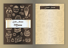Cafe menu with hand drawn doodle elements Stock Photography