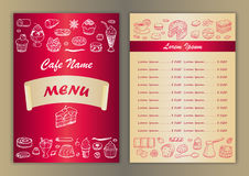 Cafe menu with hand drawn doodle elements Stock Photo