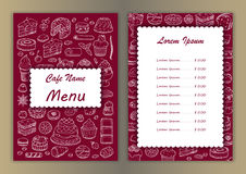 Cafe menu with hand drawn doodle elements Royalty Free Stock Image