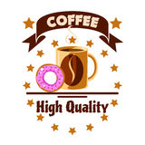Cafe menu icon. Coffee cup and donut Royalty Free Stock Photography