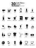 30 Cafe Menu Icons. Icons for you cafe website Royalty Free Stock Photo
