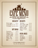 Cafe menu list with dishes name, retro design. Stock Images