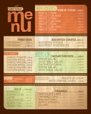 Cafe menu list. Stock Photos