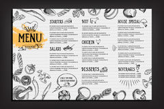 Cafe menu restaurant brochure. Food design template. Stock Photos
