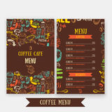 Cafe menu template design with lettering for coffee shop. Hand drawn cafe menu design. Modern hipster colorful cafe menu Stock Images
