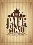 Cafe menu vector design, coffee and croissants vintage style menu illustration. With cutlery Stock Image