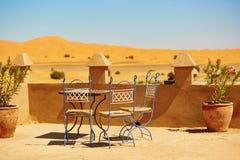 Cafe in Merzouga village in Sahara desert Stock Photos