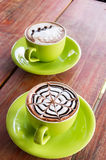 Cafe mocca and cafe latte Royalty Free Stock Photo