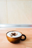 Cafe Mocha. In wooden cup royalty free stock photography