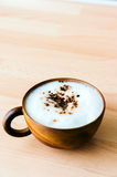 Cafe Mocha. In wooden cup stock photo