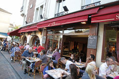 Cafe Montmartre, Paris France. Sidewalk cafe in Montmartre, Paris,  France Stock Images