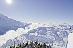 Cafe on the mountain. Brevant restaurant, Chamonix, Haute-Savoie, French Alps, France Stock Image