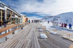 Cafe on the mountain near Arabba resort. Arabba, Italy -  February 04, 2015: Cafe on the mountain near Arabba resort Royalty Free Stock Images
