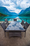 Cafe on the nature background lovatnet lake. Royalty Free Stock Images