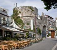 Cafe near bastion. In Peschici (Puglia Italy&#x29 royalty free stock photo