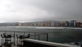 Cafe near Bay of Biscay, Gijon, Spain Stock Image