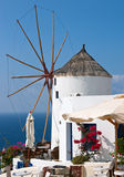 Cafe near windmill. Santorini, Greece Stock Images