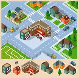Cafe and Neighborhood Isometric Stock Photos