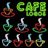 Cafe Neon Logos Royalty Free Stock Photo