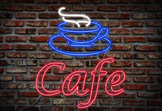 Cafe neon sign. Royalty Free Stock Image