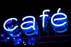 Cafe Neon Sign Stock Photography