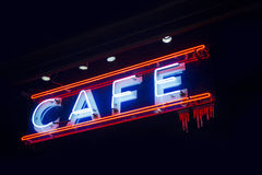 Cafe neon sign. Neon sign at a coffee shop Stock Photos