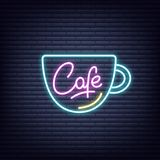 Cafe. Cafe neon sign. Neon glowing signboard banner design Royalty Free Stock Photos
